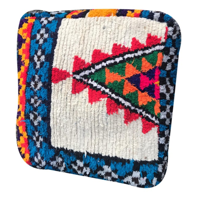 Abstract Vintage Moroccan Rug Floor Cushion Pillow - Image 2 of 5