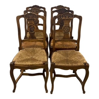 Set of Six Early 20th Century French Country Side Chairs W/ Rush Seats For Sale