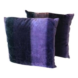 Purple Velvet Pillows - a Pair For Sale