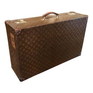 Vintage Louis Vuitton Suitcase with Silver Details For Sale