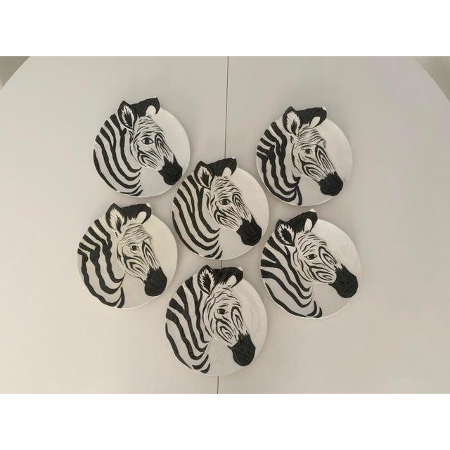 Vintage Zebra Plates for Bonwit Teller - Set of 6 For Sale - Image 10 of 11