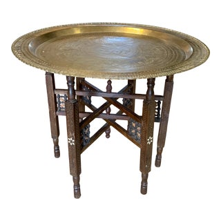 Antique Moroccan Round Brass Tray Side Table For Sale