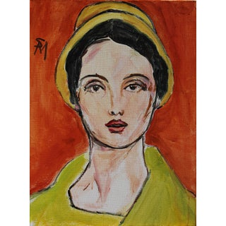 """""""Woman in a Yellow Hat"""" Contemporary Painting by Sarah Myers For Sale"""