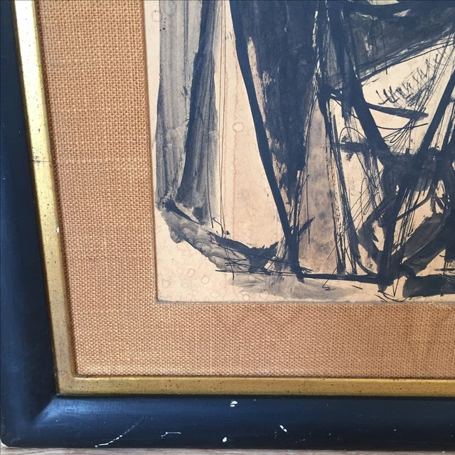 Vintage Mid-Century Original Ink Abstract in Frame - Image 7 of 8