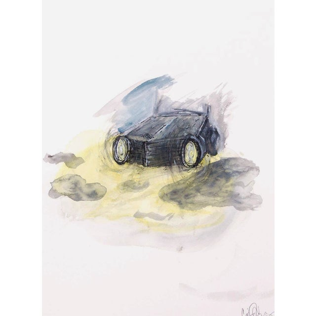Clif Claycomb Foggy Headlight Watercolor Painting For Sale