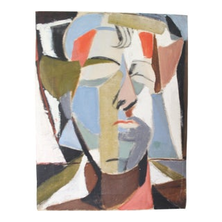 1970s Vintage Cubist Male Face Oil on Canvas Painting For Sale
