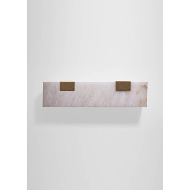 White Modern Contemporary 003-2c Sconce in Brushed Brass and Alabaster by Orphan Work For Sale - Image 8 of 10