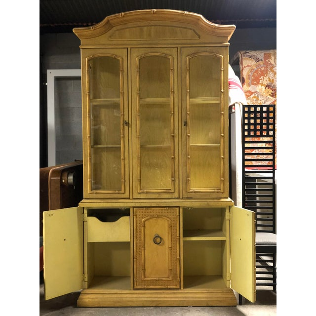 Yellow Vintage Yellow Faux Bamboo China Cabinet For Sale - Image 8 of 13