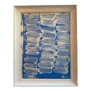Original Art Blue and White, White Washed Frame For Sale
