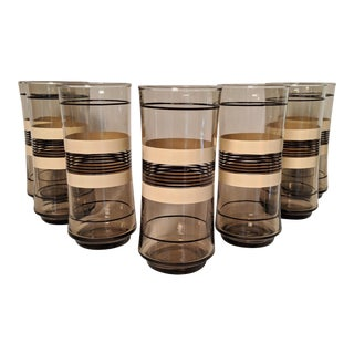 Libbey Mid Century Striped Glass Tumblers - Set of 7 For Sale