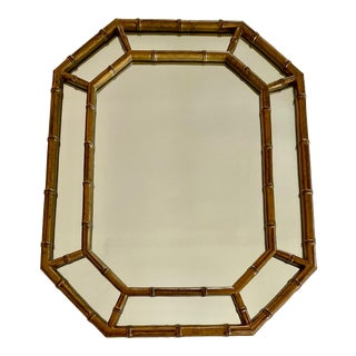 Gold Faux Bamboo Wall Mirror For Sale