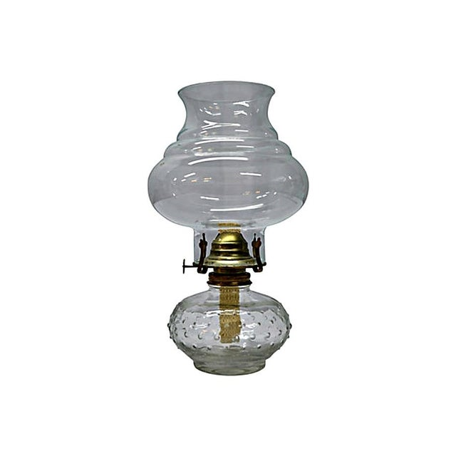 Vintage Clear Glass Oil Lamp For Sale - Image 5 of 5