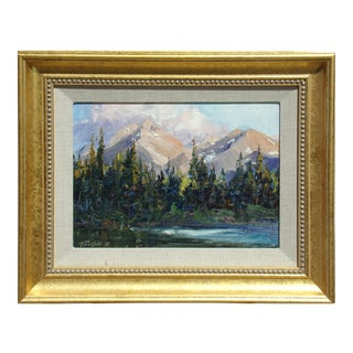 """Evening at Molas Lake"" Impressionistic Lake and Mountain Scene Oil Painting on Board by Tim Diebler, Framed For Sale"