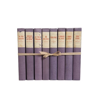 Vintage Violet French Author Book Set, (S/8) For Sale
