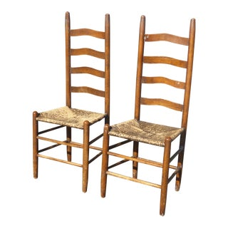 Vintage French Country Style Wood W Rush Seat Ladder Back Accent Chairs - a Pair