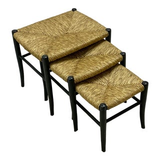 Vintage Italian Rush Seat Nesting Tables - S/3 For Sale