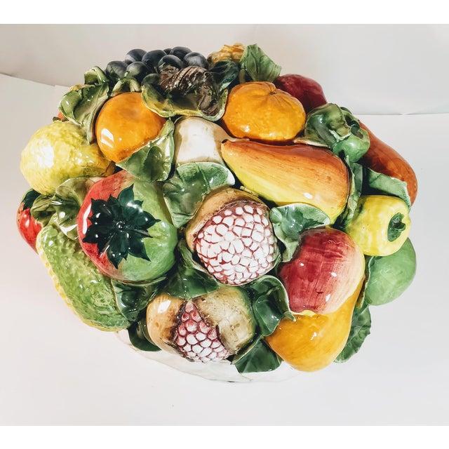 Farmhouse Vintage Majolica Intrada Italian Ceramic Fruit & Vegetable Oversized Basket Pottery Centerpiece For Sale - Image 3 of 12