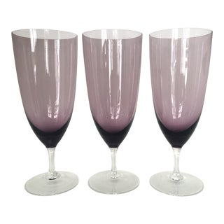 Amethyst Purple Water Goblets - Set of 3 For Sale
