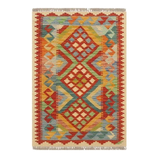 Tribal Turkish Kilim Janis Rust/Beige Hand-Woven Vintage Rug - 2'0 X 3'1 For Sale
