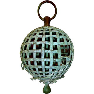 Early 20th Century Bronze Ball Cage Bird Feeder For Sale