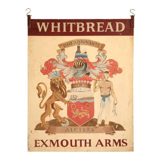 Vintage Exmouth Arms Original English Pub Sign For Sale