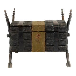 Rustic Black Forest Walnut Trunk For Sale