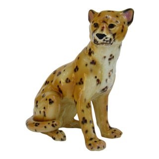 C.1960s-70s Mid-Century Modern Italian Porcelain Ceramic, Hand-Painted Leopard in a Sitting Position For Sale