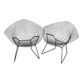 Pair of Gloss Black Harry Bertoia for Knoll Diamond Chairs For Sale