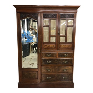 19th Century English Mahogany Wardrobe Armoire Cabinet For Sale