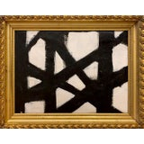 Image of Franz Kline Inspired Black and White Painting in Gold Frame For Sale
