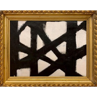 Franz Kline Inspired Black and White Painting in Gold Frame For Sale