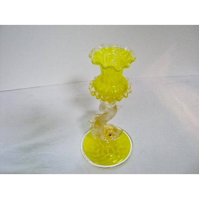 Italian Venetian Hand Blown Candlestick For Sale - Image 5 of 11