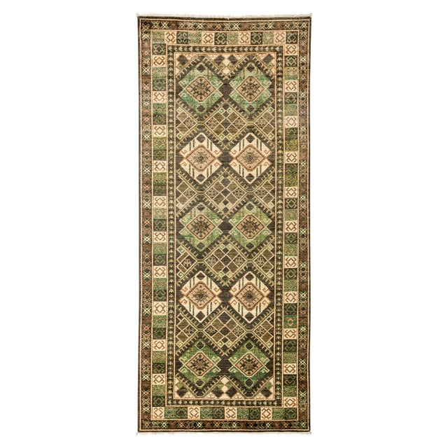 """Tribal Style Hand Knotted Area Rug - 4' X 9'5"""" For Sale"""