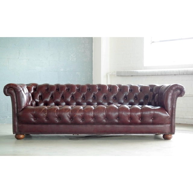 Animal Skin Classic English Midcentury Cordovan Leather Chesterfield Sofa For Sale - Image 7 of 7
