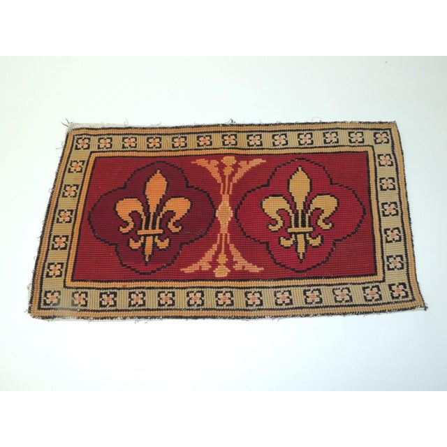 1940s Vintage Fleur De Lis Yellow and Red Tapestry For Sale - Image 5 of 5