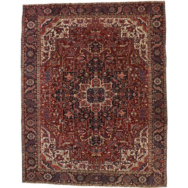 Antique Persian Heriz Rug with Modern Traditional Style For Sale - Image 10 of 10