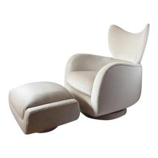 1970s Vladimir Kagan Swivel Lounge Mohair Chair & Ottoman - A Pair