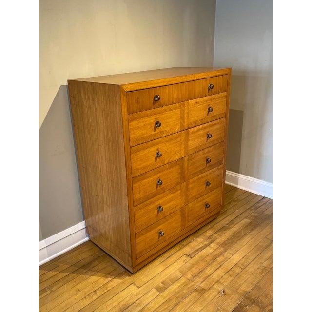Mid-Century modern dresser with walnut and mahogany inlay by Crane & MacMahon St Marys, Ohio. Dresser has beautiful wood...