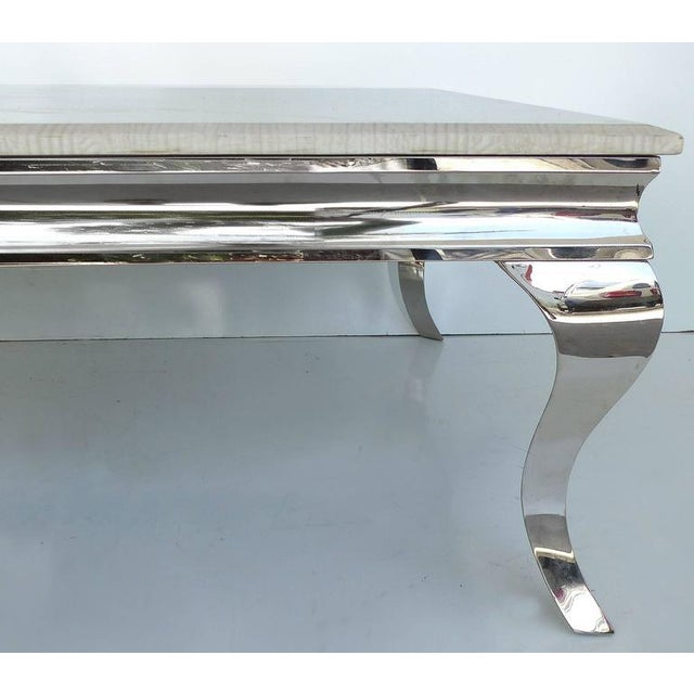 1980s Stainless Steel Cocktail Table with Lacquered Snakeskin Finish Marble Top For Sale - Image 4 of 9
