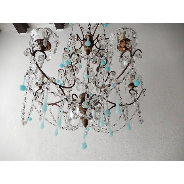 Late 19th Century French Robins Egg Blue Opaline Beaded Chandelier, circa 1890 For Sale - Image 5 of 12