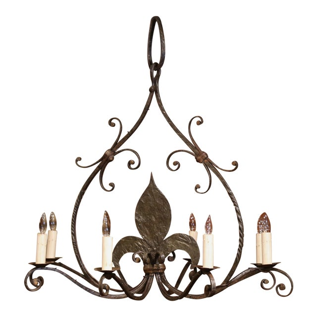 Large 19th Century French Wrought Iron Eight-Light Chandelier With Fleur-De-Lys For Sale