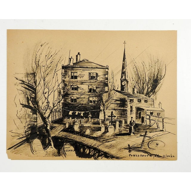 WPA modernist style ink on paper cityscape of Portsmouth Virginia. Titled and dated 11/28/42 lower right corner. Unframed,...