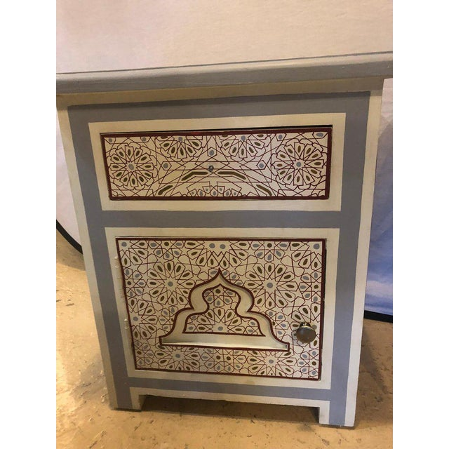 2010s Moorish Style White Blue-Gray and Burgundy Night Stands - a Pair For Sale - Image 5 of 12