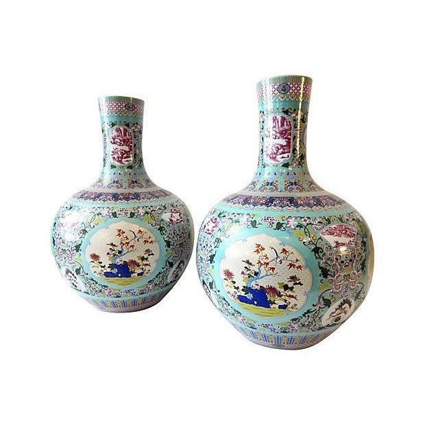 Famille Rose Onion-Shape Vases - Set of 2 - Image 6 of 8