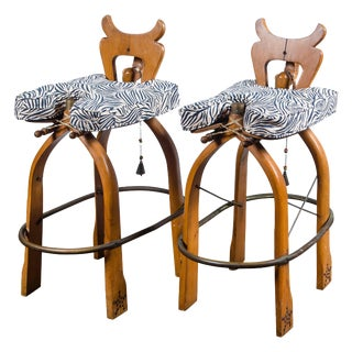 Pair of Exotic Carved Wood Camel Bar Stools For Sale