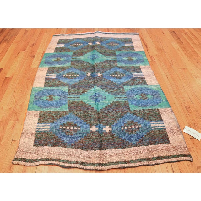 Blue Vintage Double-Sided Swedish or Scandinavian Deco Kilim For Sale - Image 8 of 9
