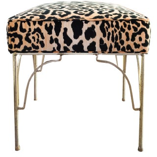 Hollywood Regency Mid Century Leopard Velvet Bench For Sale