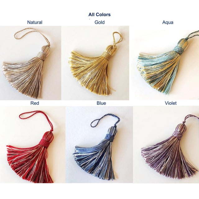 Petite Natural Color Tassels - a Pair For Sale - Image 9 of 10