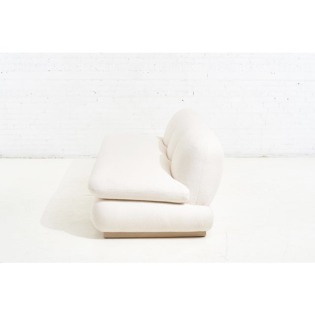Modern Drama White Boucle Pouf Sofa For Sale In Chicago - Image 6 of 11