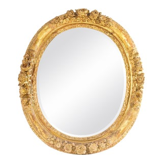 18th C. French Oval Giltwood Mirror For Sale